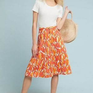 Anthropologie Maeve Banana Grove Denim Midi Skirt